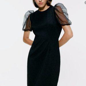 Zara Pencil Fitted Dress M Black Organza sleeve